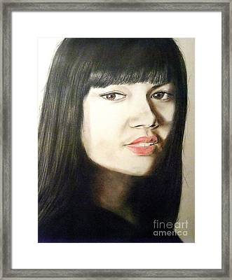 Framed Print featuring the drawing Myra Molloy Winner Of Thailand Got Talent  by Jim Fitzpatrick