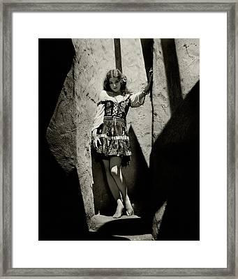 Myrna Loy In A Cave Framed Print by Nickolas Muray