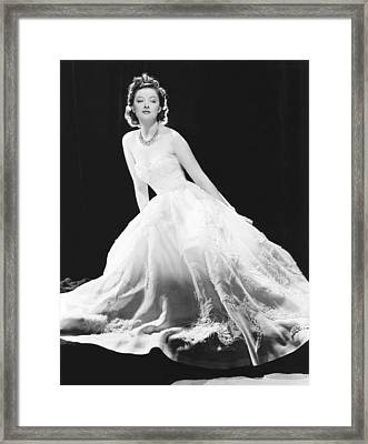 Myrna Loy In A White Souffle Evening Framed Print by Everett