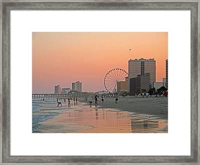 Myrtle Beach Shoreline Pier And Skywheel Framed Print by Barbara McDevitt