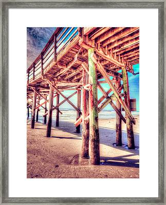 Myrtle Pier In Color Framed Print by Mark Hazelton