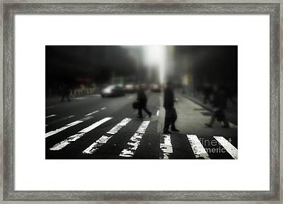 Mysterious Business Men In New York City Crosswalk Framed Print by Amy Cicconi