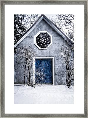 Mysterious House With Blue Door Framed Print