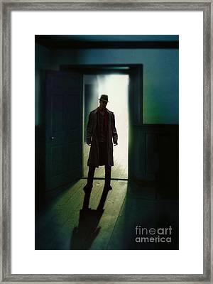 Mysterious Man In Doorway Framed Print by Jill Battaglia