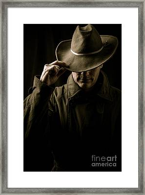 Mysterious Man In Hat And Trench Coat Framed Print