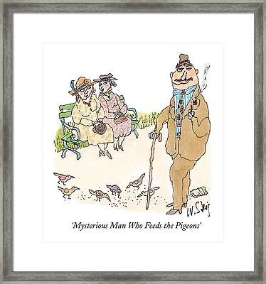 'mysterious Man Who Feeds The Pigeons' Framed Print by William Steig