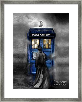 Mysterious Time Traveller With Black Jacket Framed Print by Three Second