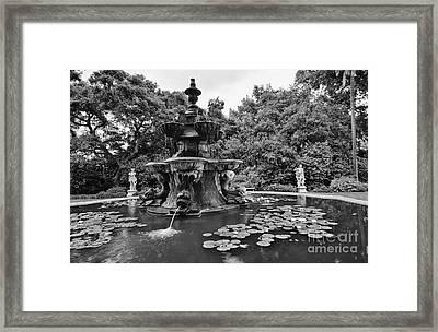 Mystery Fountain - Huntington Library And Botanical Gardens. Framed Print