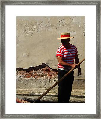 Framed Print featuring the photograph Mystery Gondolier by Ramona Johnston
