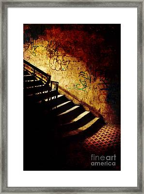 Mystery Stairs And Walls With Writings Framed Print by Jaroslaw Blaminsky