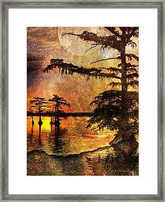Mystery Sunrise With Moon Framed Print