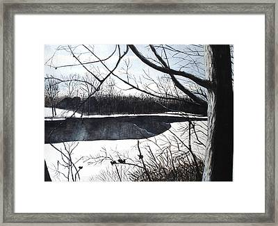 Framed Print featuring the painting Mystic River - Winter Remnants by June Holwell