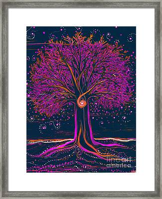 Mystic Spiral Tree 1 Pink By Jrr Framed Print by First Star Art
