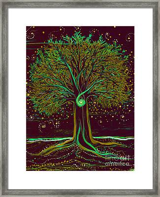 Mystic Spiral Tree  Green By Jrr Framed Print