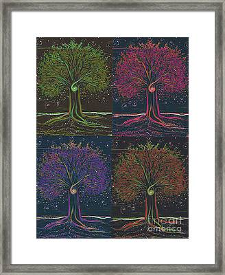 Mystic Spiral Tree X 4 By Jrr Framed Print by First Star Art