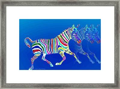 Mystical Zebra On Blue Framed Print