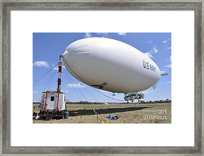 Mz-3a, A U.s. Navy Blimp, Moored Framed Print by Stocktrek Images