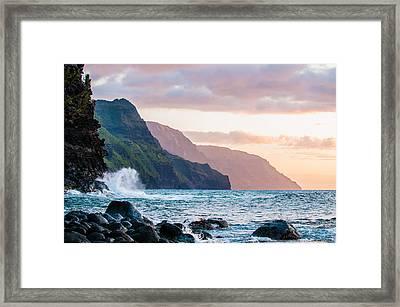 Na Pali Spray Framed Print by Adam Pender