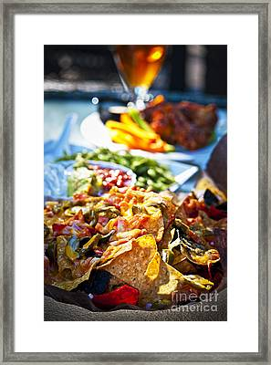 Nacho Plate And Appetizers Framed Print by Elena Elisseeva
