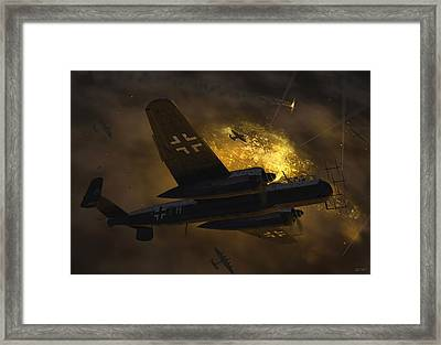 Nachtjagd Over Berlin Framed Print by Robert Perry