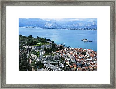 Nafplio And Argolic Gulf Framed Print by David Waldo