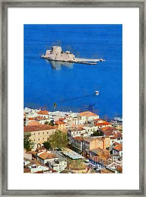 Nafplio And Bourtzi Fortress Framed Print