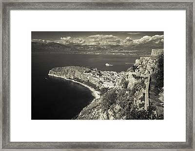Nafplio Peninsula Sepia Framed Print by David Waldo