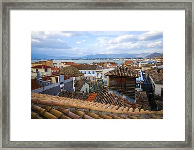 Nafplio Rooftops Framed Print by David Waldo