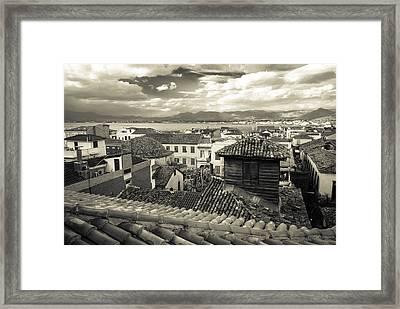 Nafplio Rooftops Sepia Framed Print