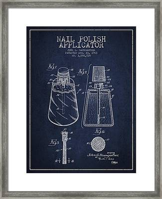 Nail Polish Applicator Patent From 1963 - Navy Blue Framed Print by Aged Pixel