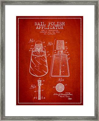 Nail Polish Applicator Patent From 1963 - Red Framed Print by Aged Pixel