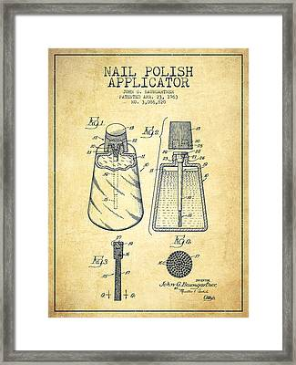 Nail Polish Applicator Patent From 1963 - Vintage Framed Print by Aged Pixel