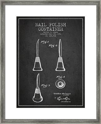 Nail Polish Container Patent From 1952 - Charcoal Framed Print by Aged Pixel