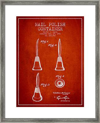Nail Polish Container Patent From 1952 - Red Framed Print by Aged Pixel