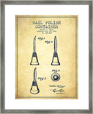 Nail Polish Container Patent From 1952 - Vintage Framed Print by Aged Pixel