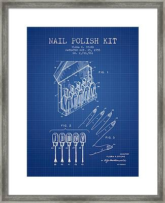Nail Polish Kit Patent From 1955 - Blueprint Framed Print by Aged Pixel