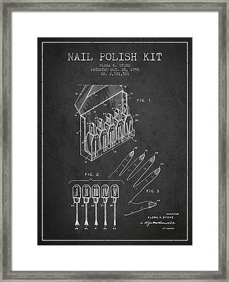 Nail Polish Kit Patent From 1955 - Charcoal Framed Print by Aged Pixel