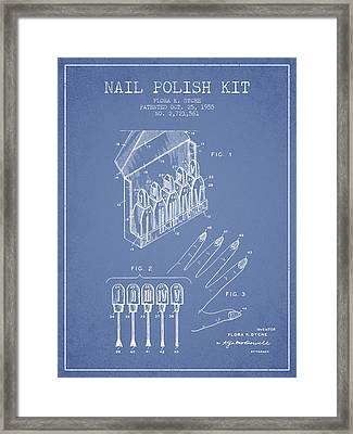 Nail Polish Kit Patent From 1955 - Light Blue Framed Print by Aged Pixel