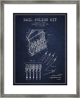 Nail Polish Kit Patent From 1955 - Navy Blue Framed Print by Aged Pixel
