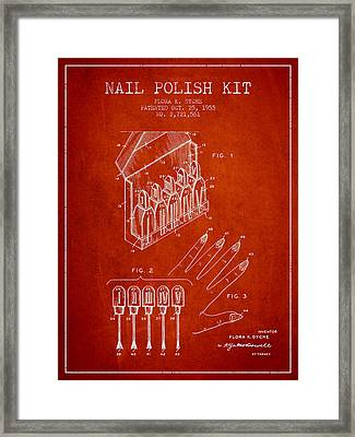 Nail Polish Kit Patent From 1955 - Red Framed Print by Aged Pixel