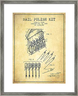 Nail Polish Kit Patent From 1955 - Vintage Framed Print by Aged Pixel
