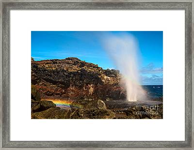 Nakalele Rainbow - Blowhole In Maui. Framed Print by Jamie Pham