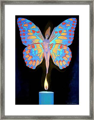 Framed Print featuring the painting Naked Butterfly Lady Transformation by Sue Halstenberg