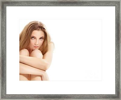 Naked Woman Sitting Framed Print by Aleksey Tugolukov