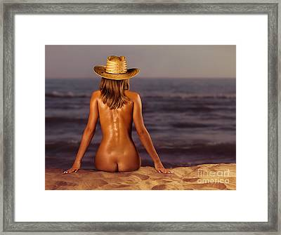 Naked Woman Sitting At The Beach On Sand Framed Print