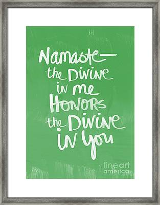 Namaste Card Framed Print by Linda Woods