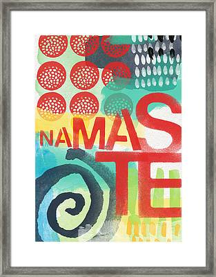 Namaste- Contemporary Abstract Art Framed Print by Linda Woods