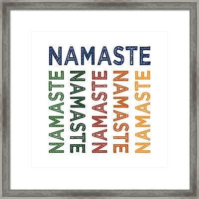 Namaste Cute Colorful Framed Print by Flo Karp