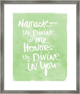 Namaste Green And White Framed Print by Linda Woods