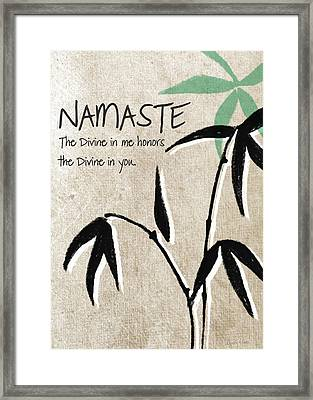 Namaste Greeting Card Framed Print by Linda Woods